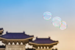 Funny Soap Bubbles at the Taiwan Sky Stock Image
