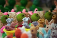 Funny Soap Figure animals day light. Market place stock photo