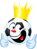 Funny soccer ball with royal crown and thumb up Royalty Free Stock Images