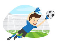 Funny soccer football player goalkeeper wearing blue t-shirt jum Royalty Free Stock Images