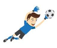 Funny soccer football player goalkeeper wearing blue t-shirt jum Royalty Free Stock Photo