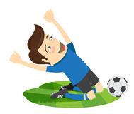 Funny soccer football player wearing blue t-shirt enjoying the v Royalty Free Stock Photography