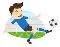 Funny soccer football player wearing blue t-shirt running kickin Stock Image