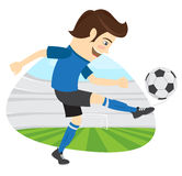 Funny soccer football player wearing blue t-shirt running kickin. Vector illustration Funny soccer football player wearing blue t-shirt running kicking a ball Stock Photos