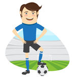 Funny soccer football player wearing blue t-shirt standing holdi Royalty Free Stock Image