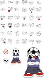 Funny Soccer kid cartoon expressions set Royalty Free Stock Images