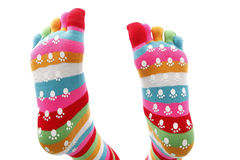 Funny socks. In different colored inks Royalty Free Stock Images