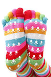 Funny socks. In different colored inks Royalty Free Stock Image