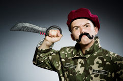 Funny soldier against Royalty Free Stock Images