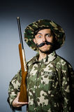 Funny soldier against Royalty Free Stock Photography