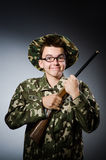 Funny soldier against Stock Photo