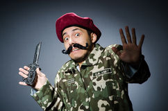 Funny soldier against Stock Images