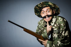 Funny soldier against Stock Image