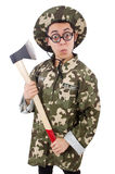 Funny soldier with the axe Stock Photos