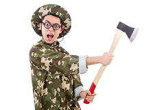 Funny soldier with the axe Stock Photography