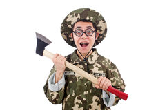 Funny soldier with the axe Royalty Free Stock Photo