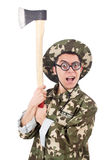 Funny soldier with the axe Royalty Free Stock Image