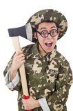 Funny soldier with the axe Stock Image