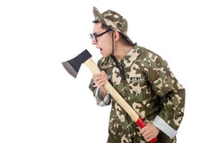 Funny soldier with the axe Royalty Free Stock Photos