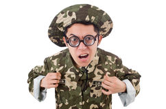 Funny soldier isolated Stock Photos