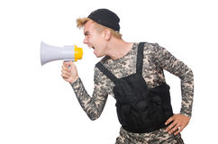 Funny soldier isolated Royalty Free Stock Images
