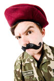 Funny soldier isolated Stock Images