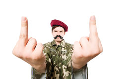 Funny soldier isolated Royalty Free Stock Photos