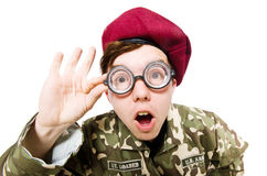 Funny soldier isolated Royalty Free Stock Image