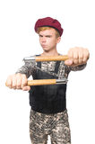 Funny soldier isolated Stock Image