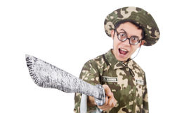 Funny soldier with knife Royalty Free Stock Photos
