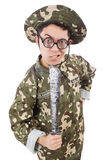 Funny soldier with knife Stock Photo
