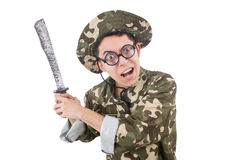 Funny soldier with knife Stock Image