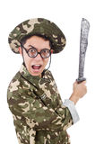 Funny soldier with knife Stock Photography