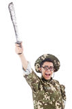 Funny soldier with knife Royalty Free Stock Photo