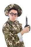 Funny soldier with knife Stock Photos