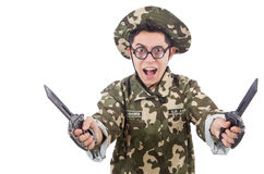 Funny soldier with knife Royalty Free Stock Photography