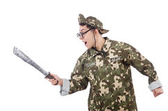 Funny soldier with knife Royalty Free Stock Image