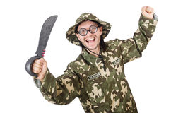 Funny soldier with knife Stock Images