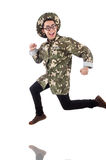 Funny soldier in military Stock Photography