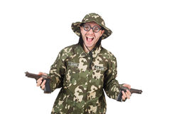 Funny soldier in military Stock Images