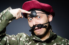 Funny soldier in military Royalty Free Stock Photo