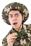 Funny soldier in military Royalty Free Stock Photography