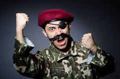 Funny soldier in military. Concept Royalty Free Stock Photos