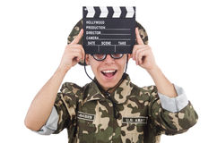 Funny soldier with movie board Stock Photography