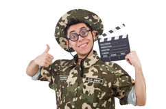 Funny soldier with movie board Royalty Free Stock Images