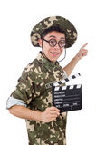 Funny soldier with movie board Stock Photos