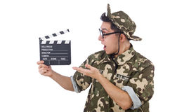 Funny soldier with movie board Royalty Free Stock Photo