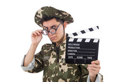 Funny soldier with movie board Stock Photo
