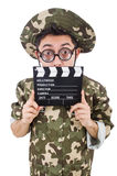 Funny soldier with movie board Royalty Free Stock Photos