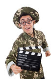 Funny soldier with movie board Stock Images